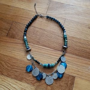 Shades of Blue Dangly Seashell Nautical Necklace